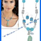 Necklace & Earring Gift Set Turquoise Colored Set Sea Glass Accent ~Silvertone~