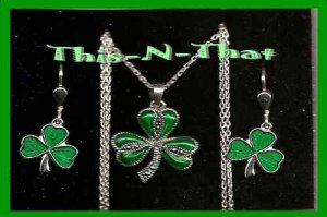 Necklace & Earring Gift Set Solvar Sterling Silver Marcasite & Enamel Shamrock