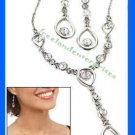 "Necklace & Earring Gift Set Shimmering Teardrop Link ""Y"" Silvertone-Crystal Acct"