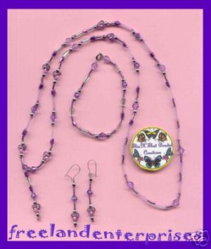 Necklace & Bracelet & Earring Gift Set Purple Beads & Pouch---Purple Beads