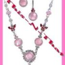 """Necklace & Earring Gift Set Pretty Pastel """"Y"""" Cat's Eye & Irridescent Beads Pink"""