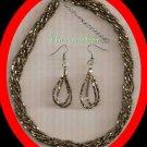 """Necklace & Earring Gift Set Multi Strand Dark Gold Beads wiht Extender 18"""" NWOT"""