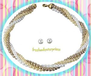 Necklace & Earring Gift Set Julie Twisted Triple Strand Faux Pearls NEW ~STUDS