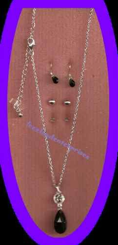 Necklace & Earring Gift Set Black Bead Drop Pendant with 3 Pair Earrings NEW