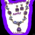 Necklace & Earring Gift Set After Dark Gift Set PURPLE Burnished Brass NEW Boxed