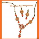 "Necklace & Earring Desert Rose ""Y"" Gift Set Coral-Orange NEW Boxed"