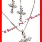 Necklace & Earring Cross Pendant Gift Set - Rhinestones/Crystals & Silvertone
