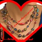 "Necklace & Earring Beaded Multi-color Gift Set 16"" long"