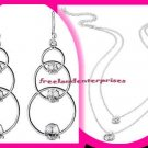 Necklace & Earring Addison CZ Double Strand Necklace & Drop Earrings