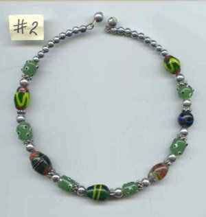 Necklace #02 Memory Wire Beaded Glass Beads -Green