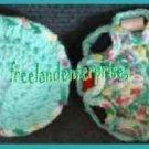 Crocheted Pin Cushion & Thread Caddy 03 Reversible Turq