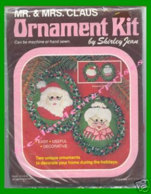 CRAFTS Holiday Mr & Mrs Claus Ornament Kit Shirley Jean