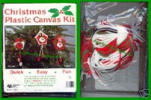 CRAFTS Christmas Plastic Ornament Canvas Kit (3 Clocks)