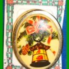 Christmas PIN #338 Vintage Lantern & Pine Bough Oval Porcelain Goldtone Red Bow