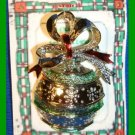 Christmas PIN #337 Signed Gerrys Vintage Christmas Ball Ornament Green Goldtone