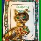 Christmas PIN #328 Cat/Kitty Goldtone & Enamel w/Holly VINTAGE Brooch