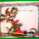 Christmas PIN #326 Signed BJ Elf Mouse Head on Ski/Sled Goldtone-Green & Red VTG