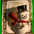 Christmas PIN #319 Snowman Goldtone w/Red Scarf & Black Hat w/Holly, Broom VGC