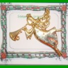 Christmas PIN #173 Signed AAI ANGEL Flying & Playing Trumpet Goldtone w/Crystals