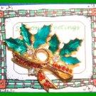 Christmas PIN #142 VTG Holly & Crystal Berries Enamel Leaves HOLIDAY Brooch VGC