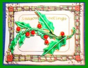 Christmas PIN #138 Vintage Holly Sprig Green Enamel HOLIDAY VGC
