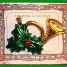 Christmas PIN #130 Signed Gerrys Horn & Green Holly Goldtone HOLIDAY VGC