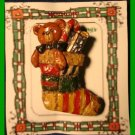 Christmas PIN #126 Wooden Looking Patchwork Stocking Teddy Bear HOLIDAY Brooch