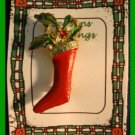 Christmas PIN #116 Stocking & Holly Enamel Red & Green on Goldtone