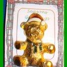 Christmas PIN #108 Vintage Teddy Bear Red & White Hat-Green Enamel Bow Goldtone
