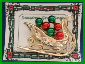 Christmas PIN #085 Signed Tancer II Sleigh Goldtone & Red & Green Enamel HOLIDAY