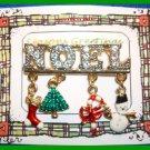 Christmas PIN #066 VTG NOEL Goldtone-Enamel Dangl'g Charms-stockg-tree-candycane