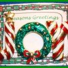 Christmas PIN #061 JOY Red-White Candy Cane Stripe Enamel w/Green Wreath RED BOW