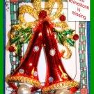 Christmas PIN #047 Double Bells Red Enamel White Rhinestones & Gren Enamel Holly