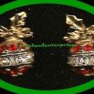 Christmas Earrings Sparkling Christmas Ornament Red & Clear Rhinestones Pierced