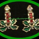 Christmas Earrings Sparkling Christmas Candle Pierced Earrings