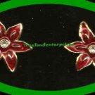 Christmas Earrings Poinsettia Pierced Earr'gs Goldtone NOS