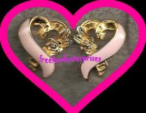 """Breast Cancer Pink Ribbon Pierced Earrings 3/4"""" x 5/8"""""""