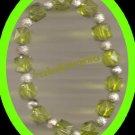 Bracelet Beaded Stretchie Acrylic NEW~Light GreenSilver