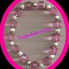 Bracelet Beaded Stretchie Acrylic NEW ~ Pink & Silver