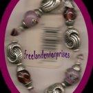Bracelet Beaded 118 Stretchie Pink/Purple Pewter NEW