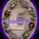 Bracelet Beaded 117 Stretchie Purple/Pink SilvertoneNEW