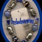 "Bracelet Beaded 115 Stretchie Blue & Silvertone NEW 6"""