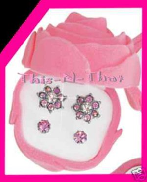 Earring Sparkling Duo in Rose Bud Box -Pink Color Set NEW