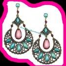 Earring Half Moon Dangle Earrings Burnished Brass Pierced