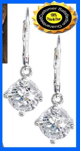 Earring CZ Leverback Solitaire Clear Silvertone Boxed NEW