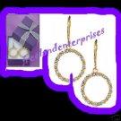 Earring Circle Rhinestone Goldtone Pierced Hoop with Box