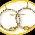 Earring Bejeweled Hoop Earrings Caramel -Yellow Color NEW Pierced