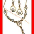 "Necklace & Earring Gift Set Shimmering Teardrop Link ""Y"" Goldtone-Crystal Accent"