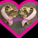 """Breast Cancer Pink Ribbon Clip Earrings 3/4"""" x 5/8"""""""