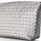 Make Up ~ Clutch Silver Woven Bag NEW